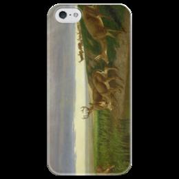 """Чехол для iPhone 5 глянцевый, с полной запечаткой """"Deer on the Prairie"""" - картина, олени, берд"""