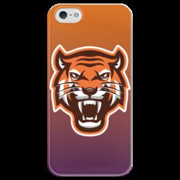 """Чехол для iPhone 5 глянцевый, с полной запечаткой """"Тайгер"""" - кот, животные, природа, тигр"""