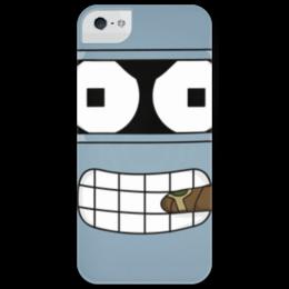 "Чехол для iPhone 5 глянцевый, с полной запечаткой ""Бендер"" - футурама, futurama, bender, robot, робот, мульт, бэндер"