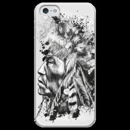 "Чехол для iPhone 5 глянцевый, с полной запечаткой ""индеец"" - индеец, вождь, native american, black n white, chief"