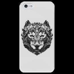 """Чехол для iPhone 5 глянцевый, с полной запечаткой """"Волк Стилизация 2"""" - волк, wolf, волчица, чёрноеи белое"""
