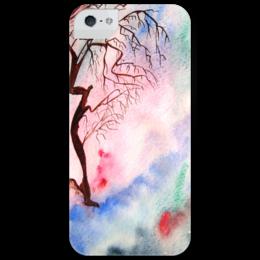 """Чехол для iPhone 5 глянцевый, с полной запечаткой """"Sakura"""" - арт, рисунок, акварель, sakura"""