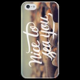 """Чехол для iPhone 5 глянцевый, с полной запечаткой """"Nice To Sea You"""" - лето, фото, море, пляж, океан"""
