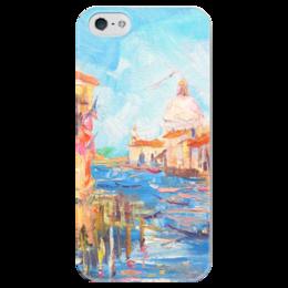 """Чехол для iPhone 5 глянцевый, с полной запечаткой """"Гранд-канал Венеции"""" - венеция, venice, валерия меценатова, funny smile"""