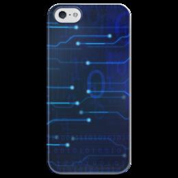 """Чехол для iPhone 5 глянцевый, с полной запечаткой """"Матрица"""" - компьютер, матрица, плата, чип, микросхема"""