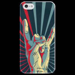 "Чехол для iPhone 5 глянцевый, с полной запечаткой ""Рок - моя музыка"" - рок, музыка"