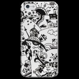 """Чехол для iPhone 5 глянцевый, с полной запечаткой """"Многоликая столица"""" - жизнь, москва, город, храм, лилия, столица, black n white, купола"""