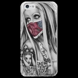 """Чехол для iPhone 5 глянцевый, с полной запечаткой """"Girl                                      """" - арт, girl, tattoo, тату"""