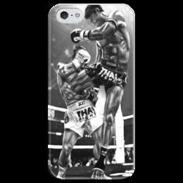 "Чехол для iPhone 5 глянцевый, с полной запечаткой ""muay thai"" - mma, muay thai, тайский бокс, муай тай"