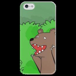 """Чехол для iPhone 5 глянцевый, с полной запечаткой """"Медведь из кустов"""" - мем, медведь, распутница, медведь из кустов, блудница"""