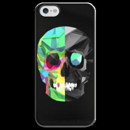 """Чехол для iPhone 5 глянцевый, с полной запечаткой """"Digital skull"""" - skull, череп, digital art"""