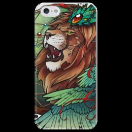 """Чехол для iPhone 5 глянцевый, с полной запечаткой """"Lion's wings"""" - арт, крылья, лев, ловец снов, lion, wings, art, dreamcatcher"""
