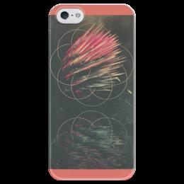 """Чехол для iPhone 5 глянцевый, с полной запечаткой """"Queerly 472"""" - стиль, узоры, вода, круги, шипы"""