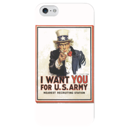 "Чехол для iPhone 5 глянцевый, с полной запечаткой ""I Want You"" - рисунок, плакат, i want you, дядя сэм"