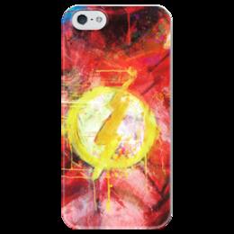 """Чехол для iPhone 5 глянцевый, с полной запечаткой """"Флэш (Flash)"""" - комиксы, флэш, dc, dc comics, flash"""