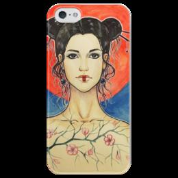 """Чехол для iPhone 5 глянцевый, с полной запечаткой """"Восточный мотив"""" - арт, солнце, в подарок, восток, япония, japan, сакура, east, sakura"""