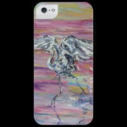 "Чехол для iPhone 5 глянцевый, с полной запечаткой ""Взлет"" - лето, summer, красота, rise, взлет, цапля"