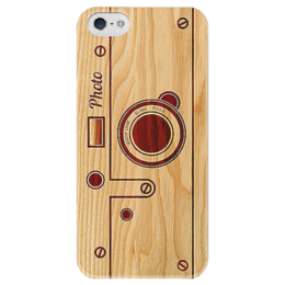"""Чехол для iPhone 5 глянцевый, с полной запечаткой """"WoodPhoto"""" - фото, графика, photo, дерево, фотоаппарат, чехол, деревянный, светлое, выжигание, camera"""