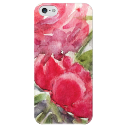 """Чехол для iPhone 5 глянцевый, с полной запечаткой """"Пионы"""" - цветок, red, ярко, акварель, пионы, peony"""