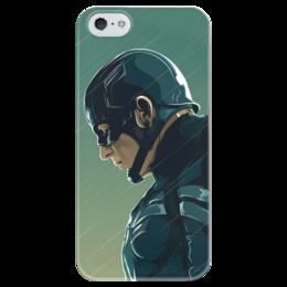 """Чехол для iPhone 5 глянцевый, с полной запечаткой """"Capitan America"""" - комиксы, marvel, капитан америка, capitan america, противостояние"""