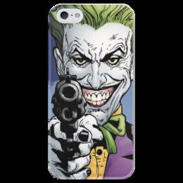 """Чехол для iPhone 5 глянцевый, с полной запечаткой """"Суперзлодеи: Джокер"""" - комиксы, джокер, фантастика, супергерои, суперзлодеи"""