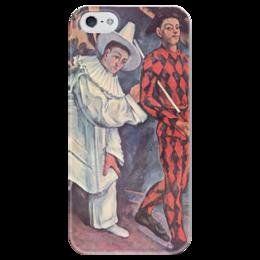 """Чехол для iPhone 5 глянцевый, с полной запечаткой """"Пьеро и Арлекин"""" - картина, сезанн"""
