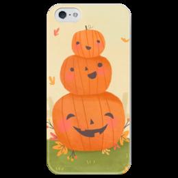 """Чехол для iPhone 5 глянцевый, с полной запечаткой """"Halloween №1"""" - тыквы, хелуин, хеллоуин"""