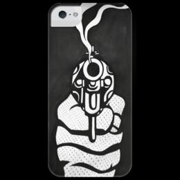 """Чехол для iPhone 5 глянцевый, с полной запечаткой """"Дуло пистолета """" - арт, gun, black n white"""