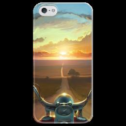 """Чехол для iPhone 5 глянцевый, с полной запечаткой """"Закат"""" - дорога, road, закат, мотоцикл, sunset"""