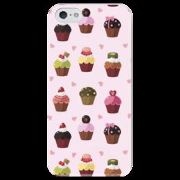 """Чехол для iPhone 5 глянцевый, с полной запечаткой """"Кексы"""" - кекс, мафин, еда, арт, в подарок"""