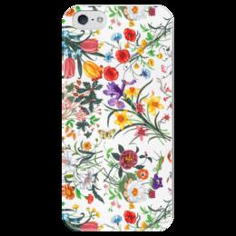 """Чехол для iPhone 5 глянцевый, с полной запечаткой """"Цветы"""" - цветы, summer, в подарок, модный чехол, colorful"""