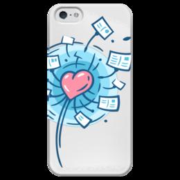 """Чехол для iPhone 5 глянцевый, с полной запечаткой """"I love Postcrossing"""" - i love, postcrossing, посткроссинг, почтовые открытки"""