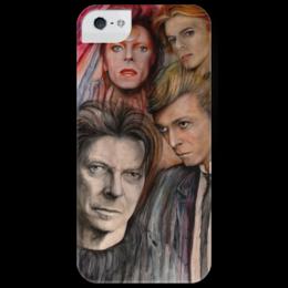 """Чехол для iPhone 5 глянцевый, с полной запечаткой """"the Man who fell to Earth"""" - музыка, ярко, лица, портрет, оригинально, акварель, креативно, дэвид боуи, боуи, ziggy"""