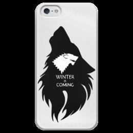 """Чехол для iPhone 5 глянцевый, с полной запечаткой """"Winter is Coming"""" - игра престолов, winter is coming, game of thrones, старк"""