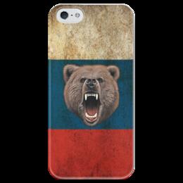 """Чехол для iPhone 5 глянцевый, с полной запечаткой """"Россия"""" - россия, bear, russia, медведь"""
