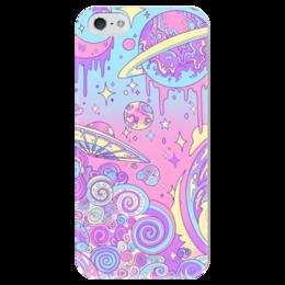 """Чехол для iPhone 5 глянцевый, с полной запечаткой """"Разноцветный космос """" - звезды, космос, планеты, нло"""