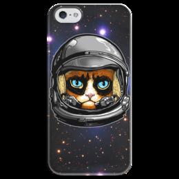 """Чехол для iPhone 5 глянцевый, с полной запечаткой """"Кот в скафандре"""" - кот, космос, вселенная, starcraft, скафандр"""