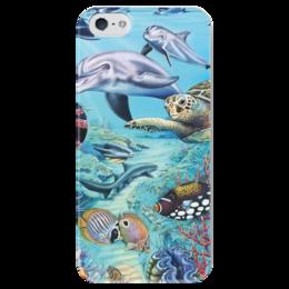 """Чехол для iPhone 5 глянцевый, с полной запечаткой """"Морские животные"""" - море, рыба, sea, turtle, fish, океан, ocean, дельфины, marine life, морские животные"""
