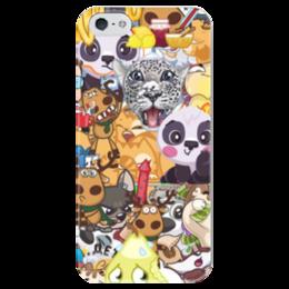 """Чехол для iPhone 5 глянцевый, с полной запечаткой """"стикерs"""" - авторское, вк, стикеры"""