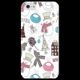 """Чехол для iPhone 5 глянцевый, с полной запечаткой """"Снеговик"""" - в подарок, snowman, holidays, new year, новый год"""