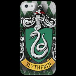 """Чехол для iPhone 5 глянцевый, с полной запечаткой """"Slytherin"""" - арт, в подарок, оригинально, harry potter, гарри поттер, hogwarts, слизерин, slytherin"""