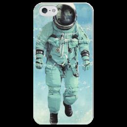 """Чехол для iPhone 5 глянцевый, с полной запечаткой """"Космонавт"""" - космос, космонавт, spaceman"""