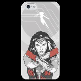 """Чехол для iPhone 5 глянцевый, с полной запечаткой """"Чудо-Женщина (Wonder Woman)"""" - dc comics, чудо-женщина, justice league, лига справедливости"""