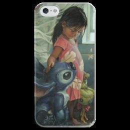 """Чехол для iPhone 5 глянцевый, с полной запечаткой """"Лило и стич"""" - мульт, пришелец, гаваи, стич, лило"""