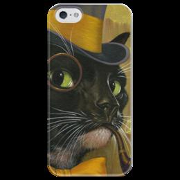 """Чехол для iPhone 5 глянцевый, с полной запечаткой """"Кот с трубкой """" - кот, трубка, монокль, цилиндр"""