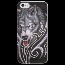 """Чехол для iPhone 5 глянцевый, с полной запечаткой """"хищник"""" - хищник, рисунок, зверь, волк"""