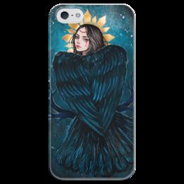 """Чехол для iPhone 5 глянцевый, с полной запечаткой """"Сирин"""" - арт, девушка, птица, сирин, славянская мифология"""