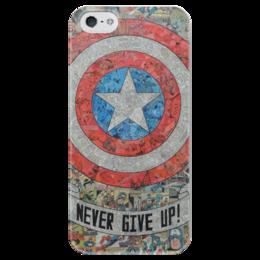 """Чехол для iPhone 5 глянцевый, с полной запечаткой """"Капитан Америка"""" - комиксы, кэп, марвел, captain america"""
