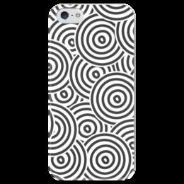"""Чехол для iPhone 5 глянцевый, с полной запечаткой """"Радиальный"""" - узор, стиль, рисунок, круги, кольца"""
