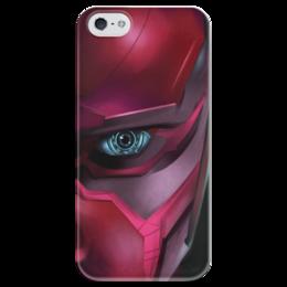 """Чехол для iPhone 5 глянцевый, с полной запечаткой """"Вижн (Vision)"""" - комиксы, мстители, марвел, эра альтрона"""